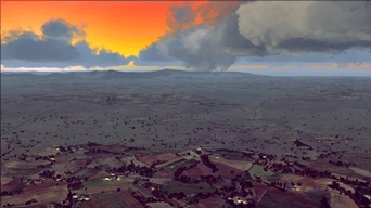 A fine sunset over North Africa, with the help of the freeware FSXWX weather engine. check more at our About the Accuracy of The Flight Simulator Franchise page (Environment) (picture published May 3rd, 2017)