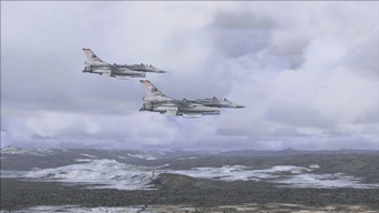 Two F-16s leaving a NATO air base in Greece! (that picture was also published in the MSFS Screen Shot Forum of the site FlightSim.com) (picture published December 1st, 2018)