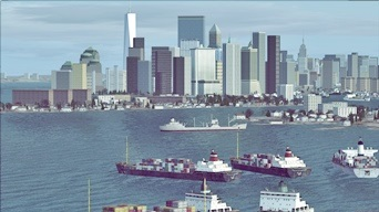 Merchant ships in the harbor of New York, NY (picture published Nov. 9th, 2016)