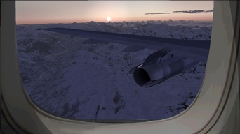 Pax view during descent after TOD, on a flight Zagreb, Croatia (LDZA)-Geneva, Switzerland (LSGG) (that picture was also published in the MSFS Screen Shot Forum of the site FlightSim.com) (picture published January 27th, 2019)