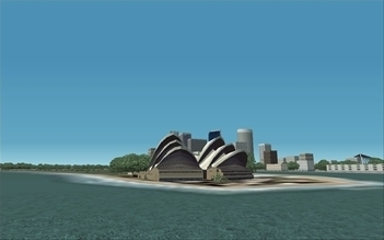The Sydney Opera, an illustration for the tale The Great Locations in the World as Seen in FS!